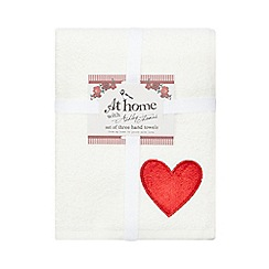 At home with Ashley Thomas - Set of three red heart hand towels