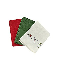 At home with Ashley Thomas - Pack of three assorted Christmas hand towels