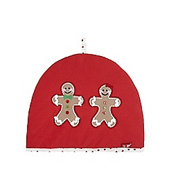 At home with Ashley Thomas - Red gingerbread man Christmas tea cosy