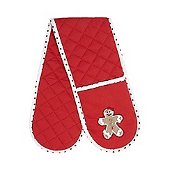 At home with Ashley Thomas - Red gingerbread man Christmas double oven glove