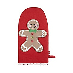 At home with Ashley Thomas - Red gingerbread man Christmas oven mitt