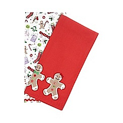 At home with Ashley Thomas - Set of two red and white Christmas tea towels