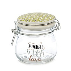 At home with Ashley Thomas - Glass 'jampacked with love' storage jar