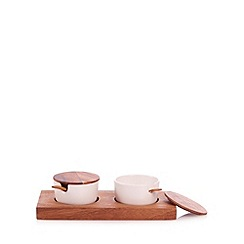 RJR.John Rocha - Designer ceramic condiment set with acacia wood stand