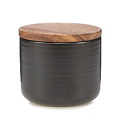 RJR.John Rocha - Dark brown ceramic cork large storage jar