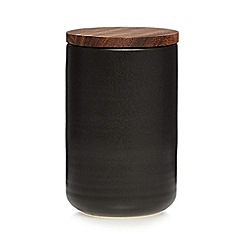 RJR.John Rocha - Dark brown ceramic cork medium storage jar