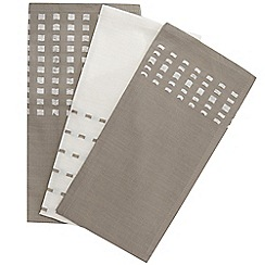 RJR.John Rocha - Designer set of three natural and cream square textured tea towels