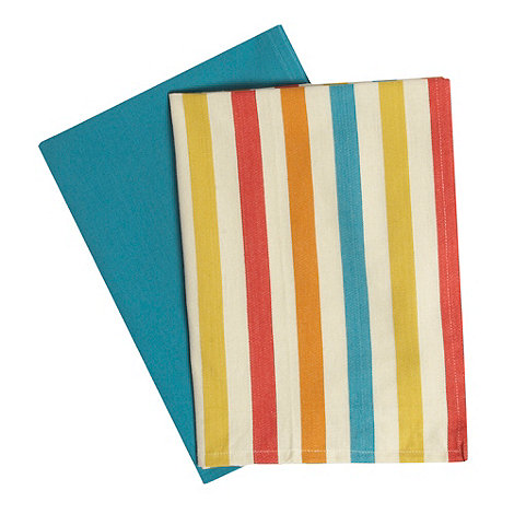 Ben de Lisi Home - Set of two natural candy striped tea towels