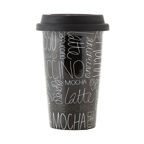 Ben de Lisi Home - Designer black scribble travel mug