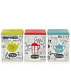 Ben de Lisi Home - Set of three designer London slogan storage tins
