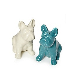 Ben de Lisi Home - Cream and turquoise bulldog salt and pepper shakers