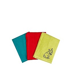 Ben de Lisi Home - Designer set of three lime dog hand towels