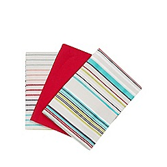 Ben de Lisi Home - Set of three red striped and plain tea towels