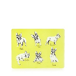 Ben de Lisi Home - Yellow bull dog print glass kitchen board