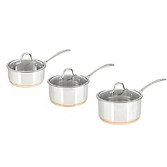 J by Jasper Conran - Jasper Conran 3 piece stainless steel copper bottom saucepan set