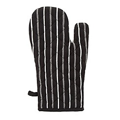 J by Jasper Conran - Designer black striped oven mitt