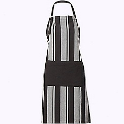 J by Jasper Conran - Cotton black striped herringbone apron