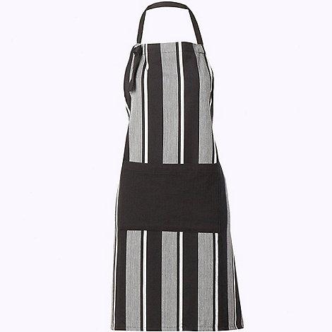 J by Jasper Conran - Cotton black striped herringbone apron