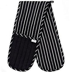 J by Jasper Conran - Black striped double oven gloves