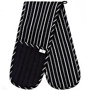 Black striped double oven gloves