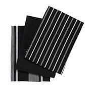 Set of three black striped tea towels