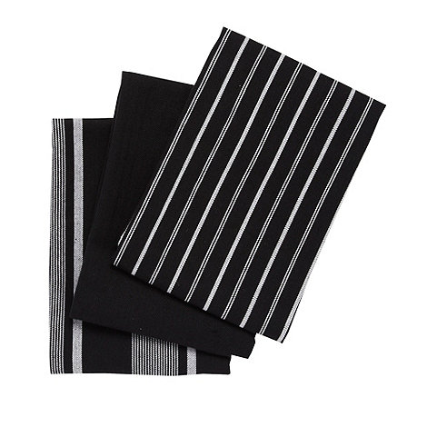 J by Jasper Conran - Set of three black striped tea towels
