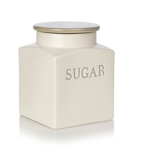 J by Jasper Conran - Cream ceramic square based sugar jar