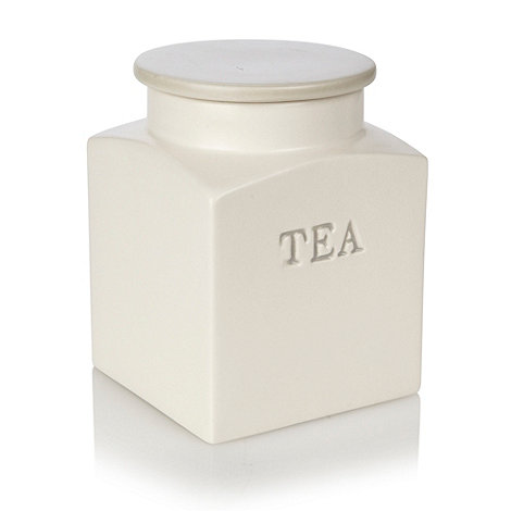 J by Jasper Conran - Cream ceramic square based tea jar