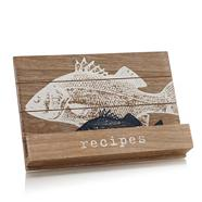 Designer wooden fish recipe stand
