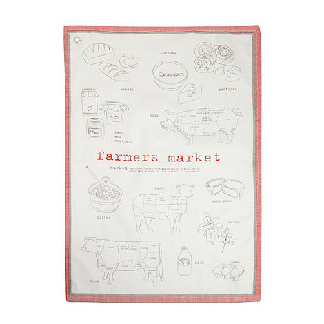J by Jasper Conran - Designer natural meat +Farmer+s Market+ tea towel