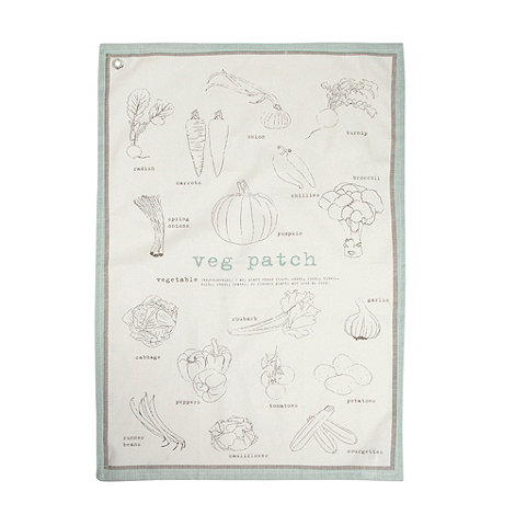J by Jasper Conran - Designer natural +Veg Patch+ tea towel