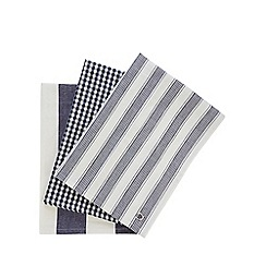 J by Jasper Conran - Set of three designer navy 'Country' tea towels