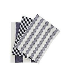 J by Jasper Conran - Set of three designer navy 'Country' tea towels