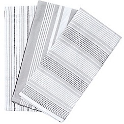J by Jasper Conran - Designer set of three white textured striped tea towels