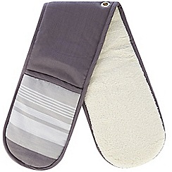 J by Jasper Conran - Designer grey striped double oven glove