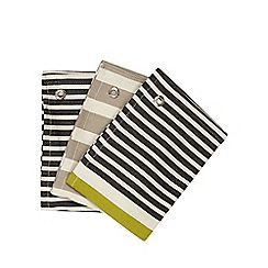 J by Jasper Conran - Set of three navy and beige striped tea towels