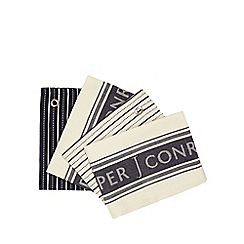 J by Jasper Conran - Set of four navy and cream striped and logo tea towels