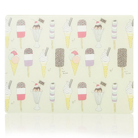 At home with Ashley Thomas - Designer glass ice cream patterned worktop saver