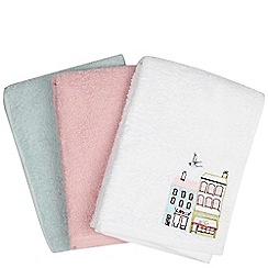 At home with Ashley Thomas - Designer pack of three white, pink and green hand towels