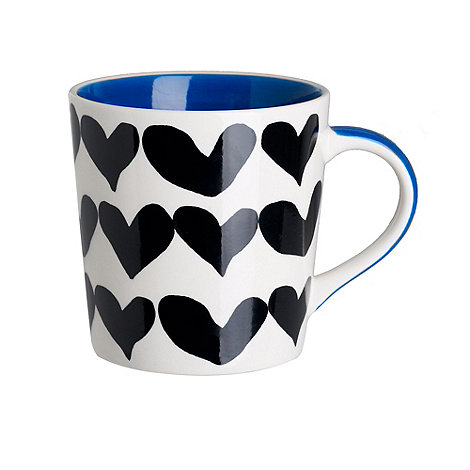 Debenhams - Blue love hearts mug