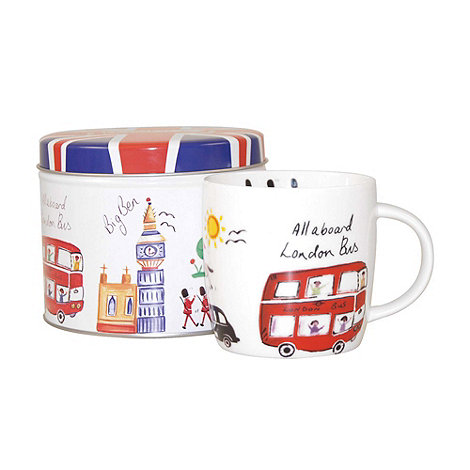Queens by Churchill - White +London Travel+ mug in tin
