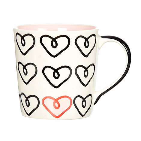 Debenhams - Pink loopy hearts mug