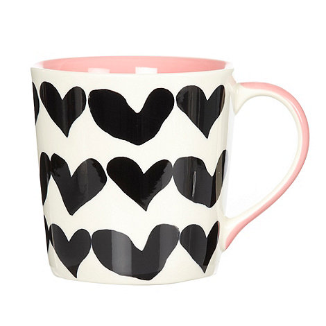 Debenhams - Dark pink closed hearts mug