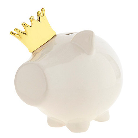 Salt & Pepper - Gold crown-wearing piggy bank