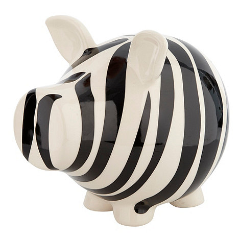 Salt & Pepper - White zebra print piggy bank