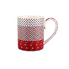 Denby - Red multiple print 'Celia' mug