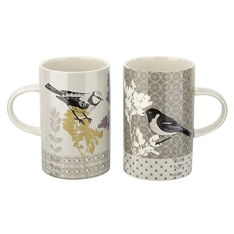 At home with Ashley Thomas - Set of two green tree print mugs