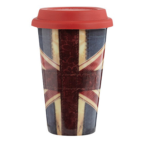 Ben de Lisi Home - Ceramic red +Union Jack+ travel mug