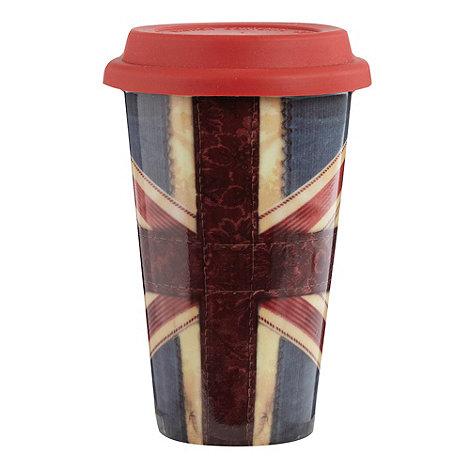 Ben de Lisi Home - Ceramic red +Union Jack+ travel mug