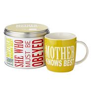 Yellow 'Mother Knows Best' slogan mug